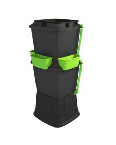 134L Rainwater Terrace Water Butt Planter - 2 Tier - Black & Light Green
