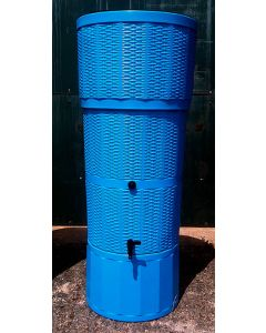 150L Rattan Wicker Effect Polybutt Water Butt - Blue