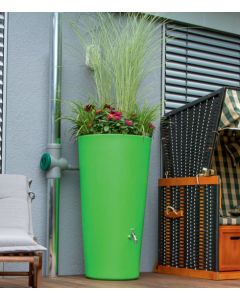 150L RainBowl Flower Water Butts with Planter in Kiwi Green