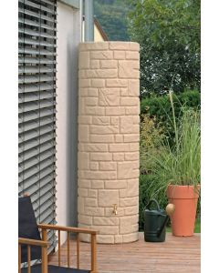 460L Arcado Replica Stone Pillar Column Water Butt - Sandstone