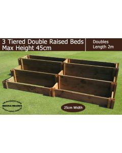 45cm High 3 Tiered Double Raised Beds - Blackdown Range - 25cm Wide