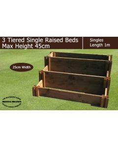 45cm High 3 Tiered Single Raised Beds - Blackdown Range - 25cm Wide