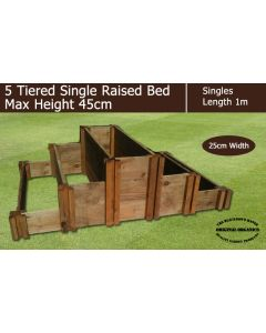 45cm High 5 Tiered Single Raised Beds - Blackdown Range - 25cm Wide