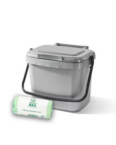 5ltr Silver Kitchen Caddy + 26 Pack of Liners