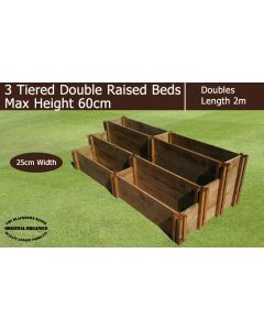 60cm High 3 Tiered Double Raised Beds - Blackdown Range - 50cm Wide