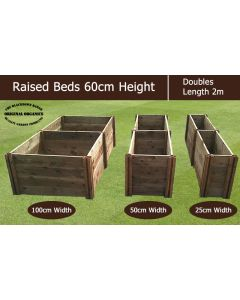 60cm High Double Raised Beds - Blackdown Range - 50cm Wide