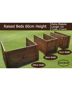 60cm High Extra Module for Raised Beds - Blackdown Range - 100cm Wide