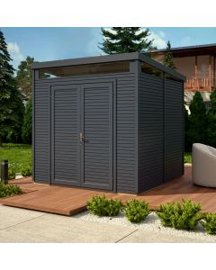 8x8 Pent Security Shed Painted In Anthracite