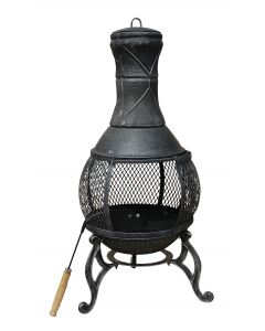 89cm Large Open Mesh Cast Iron Chimenea Heater Black