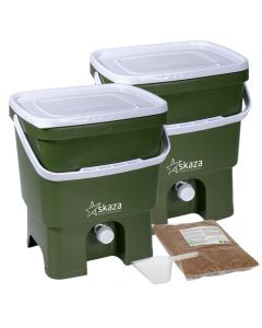 Bokashi Organko Set (2 x 16L) Olive and White with 2kg Bokashi Bran