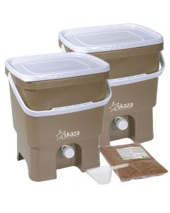 Bokashi Organko Set (2 x 16L) Cappuccino and White with 2kg Bokashi Bran