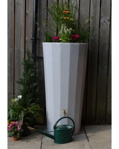 255L Metropolitan Water Butt with Planter in White Marble