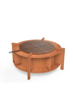 Form Fire Pit - Corten Steel With BBQ Grill