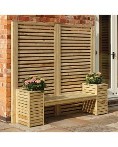 Wooden Seat & Planter Set