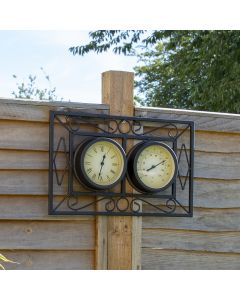 Black Ornate Metal Wall Mounted Frame Clock & Thermometer
