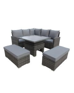Corner Lounge Set With Hydraulic Rising Table & Grey Cushions