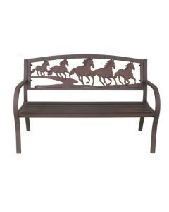 Steel Framed Cast Iron Bench With Running Horses