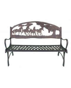 100% Cast Iron Bench With Horses And Tree