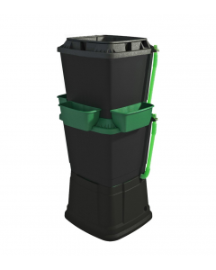 134L Rainwater Terrace Water Butt Planter - 2 Tier - Black & Dark Green