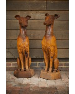 Cast Iron Sitting Whippets, Pair - Rust