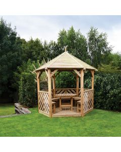 Kelkay Willoughby Open Side Wooden Gazebo With Furniture